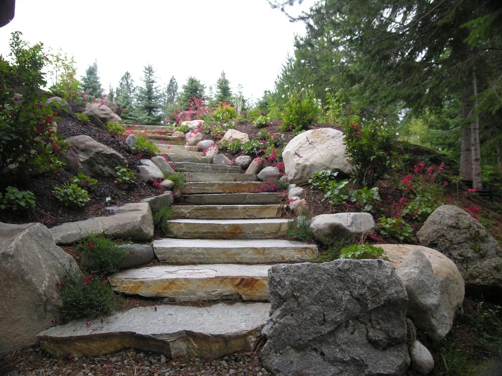 Natural Landscaping Steps : Natural rock steps turfcare landscaping in sandpoint idaho